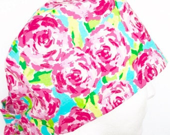 EASTER Tie back Lilly Pilutzer inspired Pink and Blue Floral Surgical Cap/ Scrub Hat