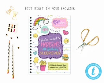 Doodle sleepover party tem, TRY BEFORE you BUY, instant download, edit yourself invitation,Template Editable