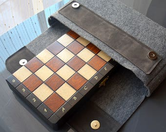 """SALE !!! Personalized 11"""" Travel Magnetic Chess Set - Sewed by Hand Felt Cover; 11"""" / 28cm - Gift - Traveling set - Personalization for FREE"""