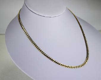 "10K Solid Yellow Gold CUBAN CHAIN Necklace for women men 3.7mm/16""~30"""