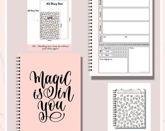 Slimming World,Any Diet,  Food Diary, Planner,Weight Watchers, Calorie,  Tracker, Journal,Notebook, Weight loss, A6 Magic