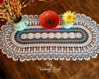 Set of 3 Doilies - Coffee Table Doily - Vintage Style Doily - Farmhouse Doily - Pineapple Crochet Doily - Blue Crochet Doily - Blue Decor
