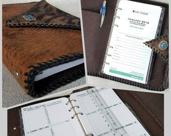 Safari Print Distressed Rustic Leather 2018 Weekly Planner/Binder, 6 Ring/2 Pocket Leather Interior, Two-Page Spread per Week, HandLaced
