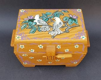 Hand Made Wooden Oak Box w Doves and Flowers