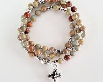 Snakeskin (Aqua Terra) Jasper Stretch Rosary Bracelet