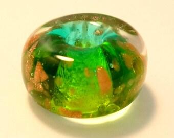 Green Large Hole Lampwork Bead, Troll Bead, Charm Bracelet Bead, Dread Bead