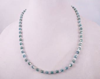 Teal and Clear Necklace, Earrings & Bracelet