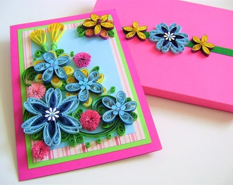 Anniversary card,Quilled Beautiful card,Sweet Paper Design,Quilling Flower Card,Handmade thank you card,Nice quilling ideas,Cheeful card