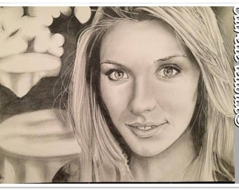 Miss France Camille deer portrait graphite pencil