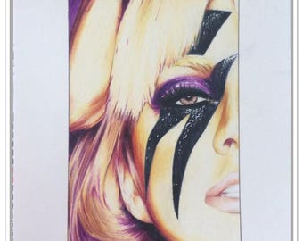 "Portrait of ""Lady Gaga"" colored pencils"