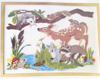 Forest Friends Vtg Crewel Embroidery Kit Linen Wool Yarn Deer Rabbit Squirrel