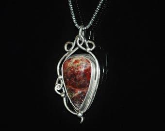Moss Opal Necklace, Handmade Sterling Silver Moss Opal Necklace, Gemstone Necklace