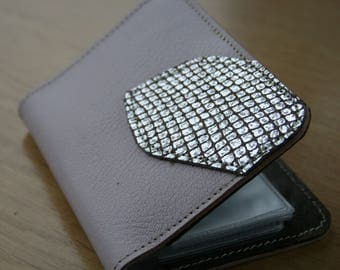 Wallet leather storage sheets, powder pink grained calf leather and iridescent silver fantasy leather pattern