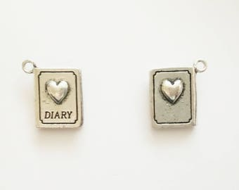 4 Secret Diary Double Sided Charms. Tibetan Silver. Pendant.
