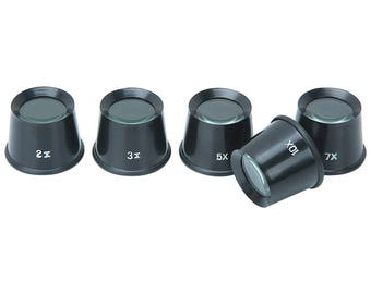 5 Piece Loupe Set suitable for jewelers and hobbyists - 2x, 3x, 5x, 7x and 10x magnifying power