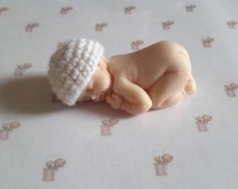 Miniature polymer clay baby bonnet hand made white crochet wool