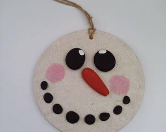 snowman snow pebbles hanger handmade