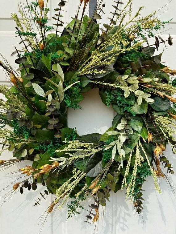 Preserved wreath, foliage wreath, 18 inch wreath, small wreath, eucalyptus wreath, leaf wreath, decorative wreath, natural wreath