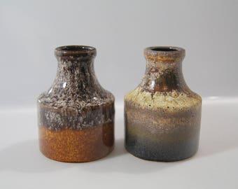 2 Cute little vases by Scheurich 550-10 West German Pottery - Fat Lava - WGP mid century blue