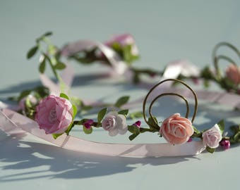 Headband decorated with flowers and beautiful elven spirals