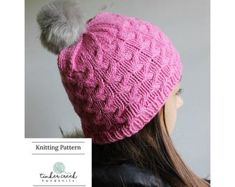 Faux Fur Pom Hat Pattern, Knit Beanie Pattern, Pattern for Kids, Pom Pom Hat Pattern, Womens Pink Knit Hat, Knitting Gift Ideas, Knitter