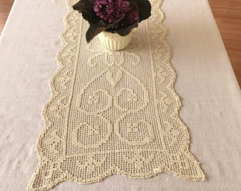 Vintage Lace Table Runner, Creamy  Filet Lace Table Runner, Side Board Scarf, Credenza Scarf, Dresser Scarf, Vintage Table Linens