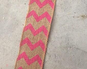 "Pink Chevron Burlap Ribbon-2.2""X 15ft"