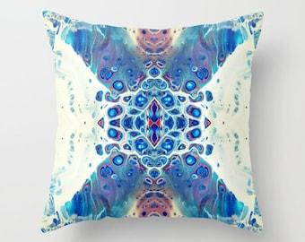 Blue & Copper Throw Pillow (Art, Home Decor, Abstract Art Printed Pillow, Accent Pillow, Original Art Printed Pillow, Throw Pillow Cover)