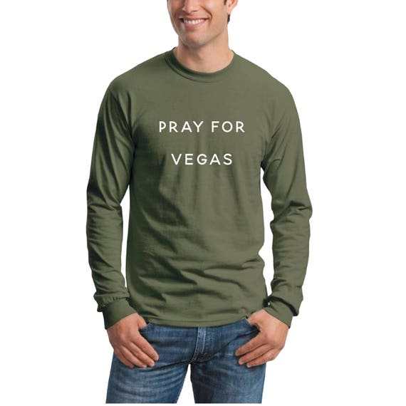PRAY for Las VEGAS T-Shirt ,Men's Long Sleeve Crew Neck, Vegas Tee, Pray for Vegas Long Sleeve Shirt