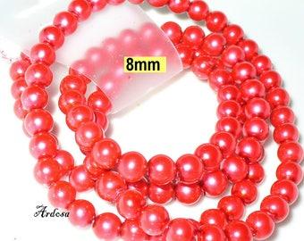 1 strand 82cm = 114 red glass beads 8 mm (808.21.1)