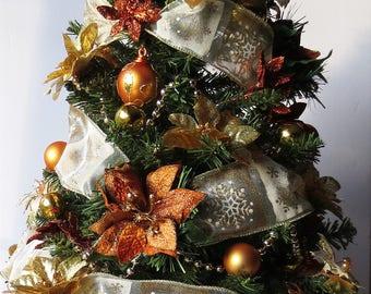 Woodland Glitz, tabletop Christmas Tree, Christmas Decoration, OOAK Christmas, Topiary Tree, Mini Christmas Tree, Home Decor, Handmade, Gift