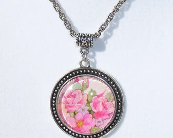 Vintage Rose Floral Necklace, Pendant, Glass Dome Pendant, Vintage Print, Flowers, Handmade, OOAK, Necklace, Handmade Jewelry, Pink Roses