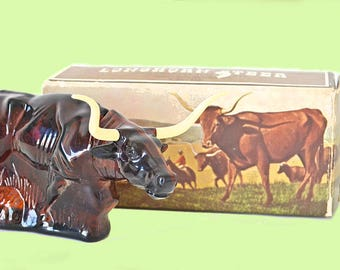 Vintage Avon Longhorn Steer Bottle with Original Box