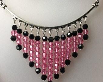 Pink And Black Crystal V Necklace