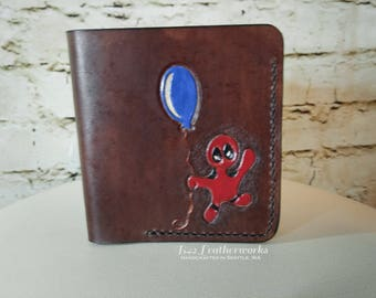 Leather wallet, bi-fold with a bill slot, hand made, hand stitched, comic inspired Deadpool - RTS