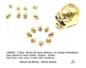 Crâne, skull, Perles de style tibétain, en alliage métallique, sans plomb et sans nickel, couleur : dorée