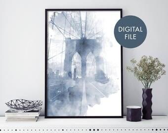 Brooklyn Bridge, New York Watercolour Print Wall Art   Print At Home   Digital Download File