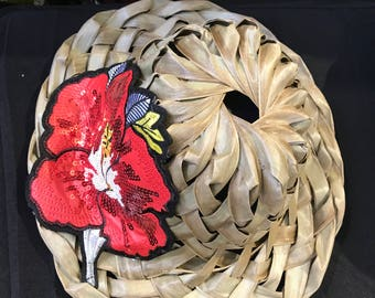 Colorful Handwoven Palm Frond Straw Hat with red hibiscus flower applique