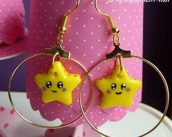 Hoop earrings Gold Star face kawaii Fimo polymer clay