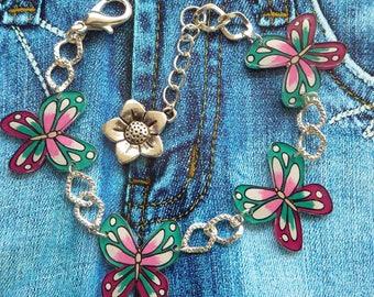Crazy crazy plastic butterflies handpainted flower charm silver metal chain bracelet