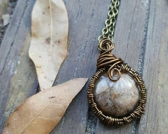 Boho Gypsy Jewelry // Gift for her // Handmade jewelry gift //Polished Coral Fossil Antique/Vintage Brass Wire Pendant Necklace