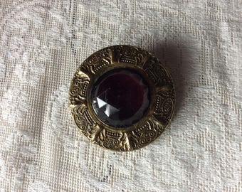 Gay 1890's  Button, Large Amethyst Stone and Brass Button, Mint!