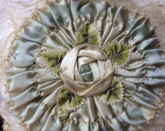 RESERVED for Claire Antique Victorian Powder Puff Wand, Silk, Lace and Silk Ribbon Work, BEAUTIFUL!