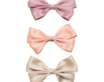 Pastel bow clip - baby bow clip - beige bow clip - orange bow clip - baby pink hair clip - satin bow clip - toddler accessories - hair clip