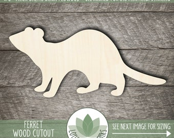 Ferret Wood Shape, Wooden Ferret Cutout, Blank Wood Shapes, Unfinished Wood For DIY Projects, Laser Cut Wood Sign Supplies, Many Sizes