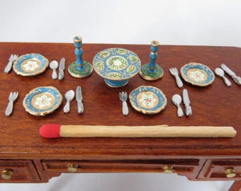 Hand-Painted Dollhouse Miniature 1/24th Scale Table Setting - Turquoise