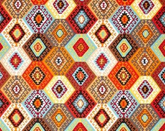 "Snow Leopard Free Spirit ""Tribal""  Alexandria--Terra    Cotton Fabric"