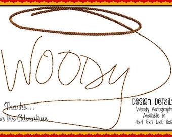 Sheriff Woody the Cowboy from Toy Story Autograph Digital Embroidery Machine Design File 4x4 5x7 6x10 8x12