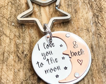 I Love You To The Moon Back Keychain, Stamped Love Moon Keyring, Copper & Silver Love Moon Keychain