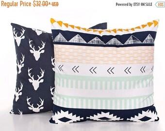 SALE ENDS SOON Navy Throw Pillow Set, Deer Pillow Cover, Pillow Covers, Kilim Pillow, Mint Green, Nursery Pillows, Kids Pillows, Soft Pillow